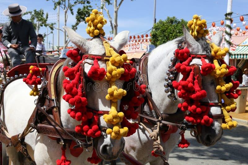 O cavalo e o transporte montam na feira de Sevilha fotos de stock royalty free
