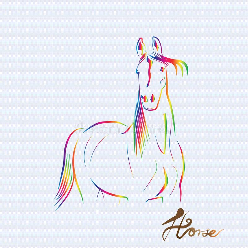 O cavalo estilizou o projeto do vetor do ícone do cartão do vetor do ícone do logotipo ilustração stock