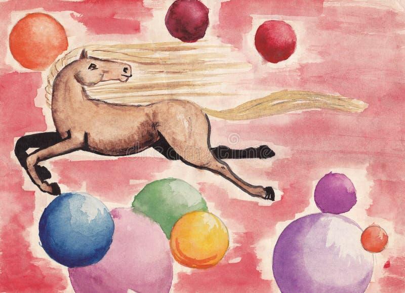 O cavalo voa contra o contexto de balões coloridos - o desenho das crianças ilustração royalty free