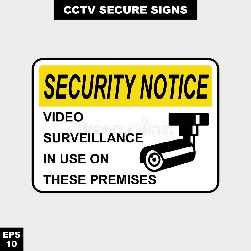 O Cctv, o alarme, monitorado e 24 câmaras de vídeo da hora assinam dentro a versão do estilo do vetor, fácil de usar e a cópia ilustração stock