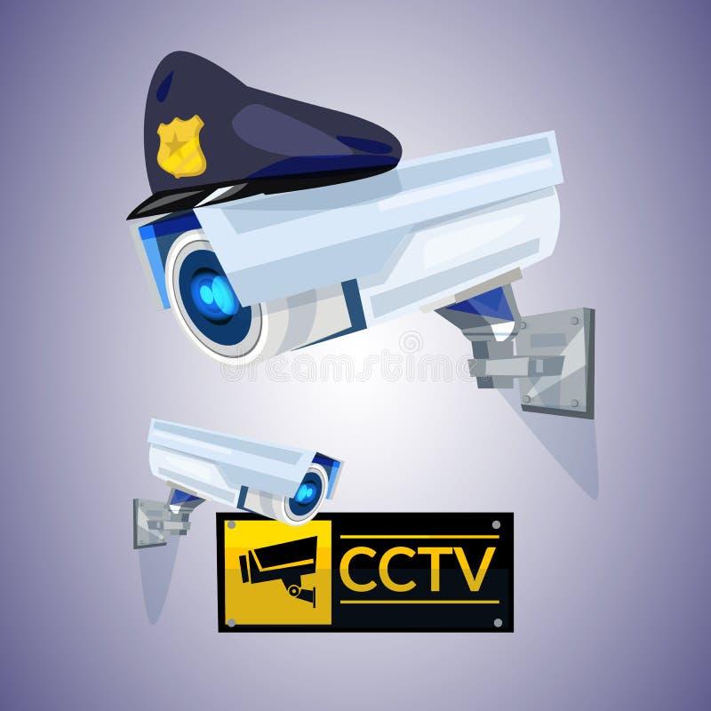 O Cctv com polícia repicou o tampão conceito da segurança e da tecnologia - v ilustração do vetor