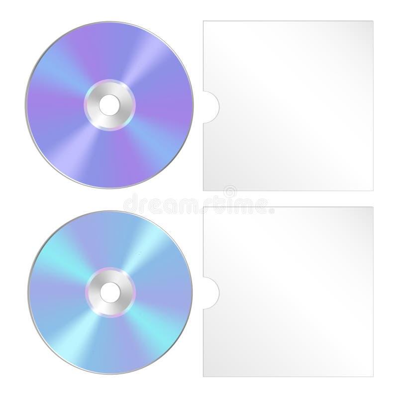O CD, dvd isolou o ícone Grupo realístico do compact disc ilustração royalty free
