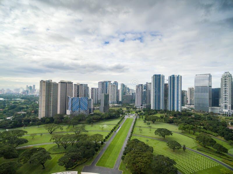 O cemitério e o memorial americanos de Manila Localizado em Fort Bonifacio, cidade de Taguig, metro Manila Tem o número o maior d imagem de stock