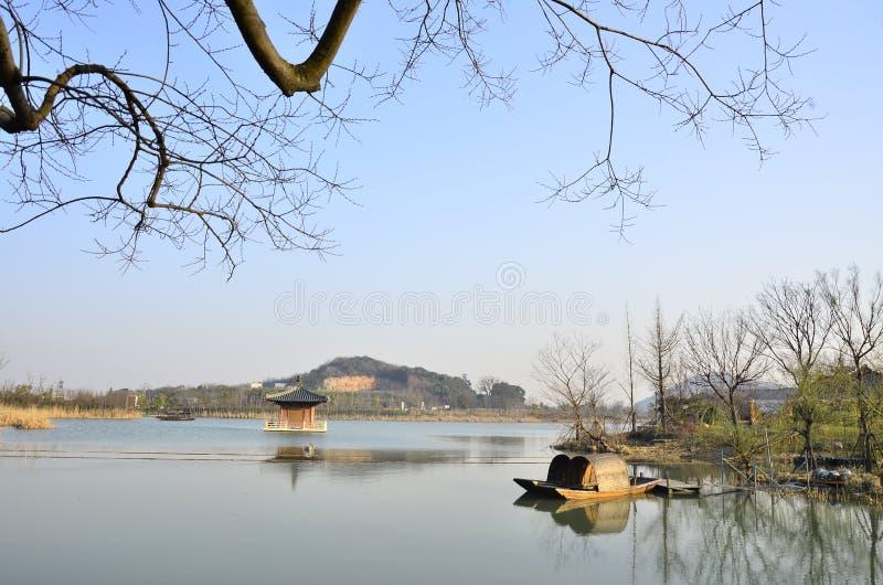 O cenário da mola da baía de Nianhua em Wuxi, China fotos de stock