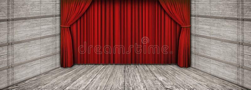 O cenário de madeira rústico de alta resolução do teatro com a cortina vermelha abaixada e esvazia a fase dianteira ilustração royalty free