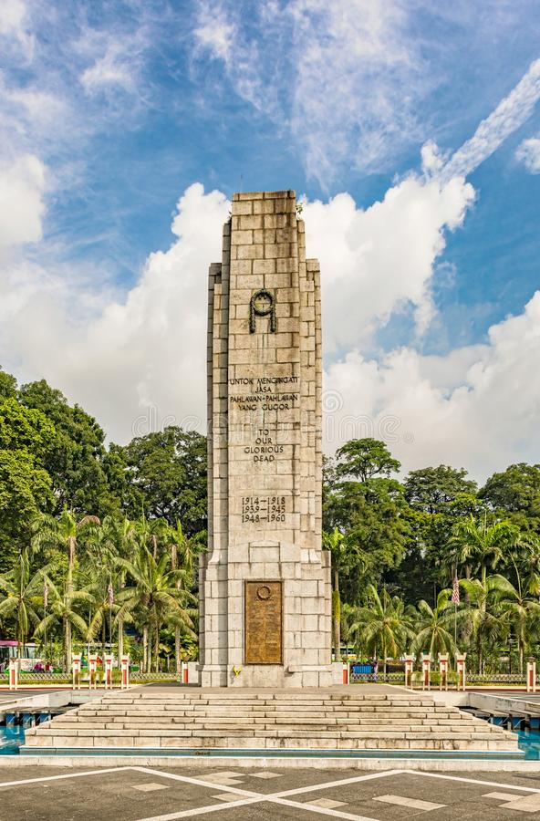 O cenotáfio perto do monumento nacional em Kuala Lumpur, Malaysi fotografia de stock