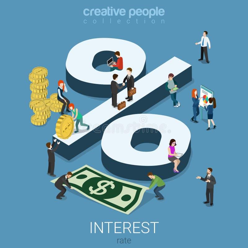 O centavo do dólar dos por cento da taxa de juro inventa o vetor liso 3d isométrico ilustração do vetor