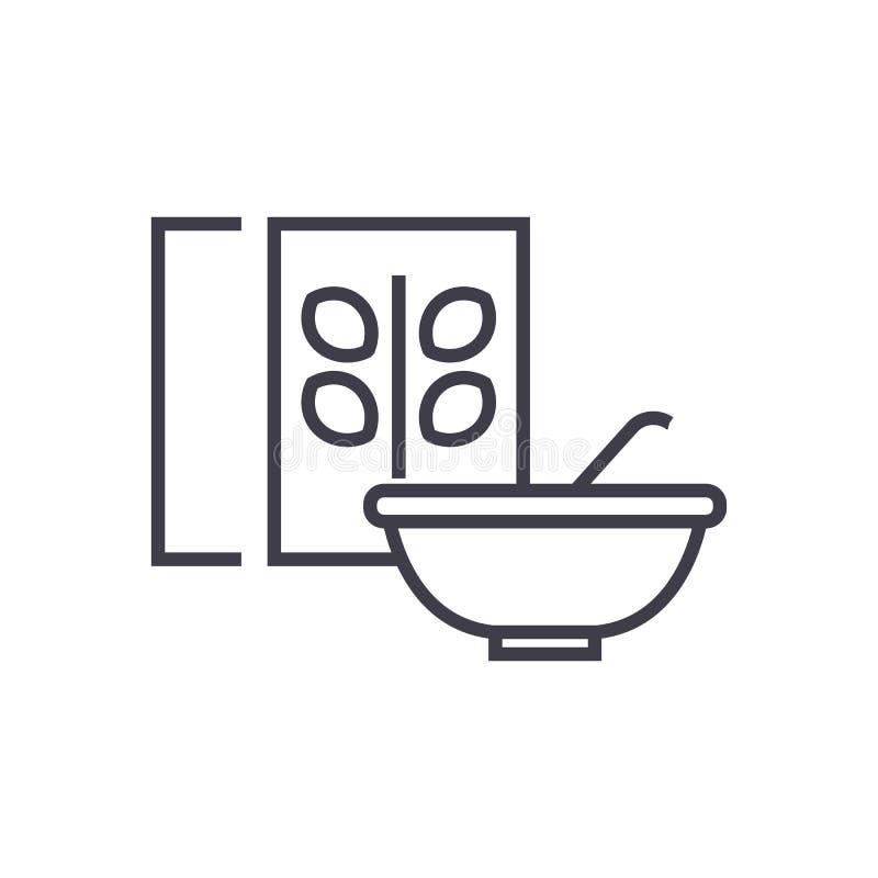 O cereal, a bacia do papa de aveia e a caixa vector a linha ícone, sinal, ilustração no fundo, cursos editáveis ilustração stock