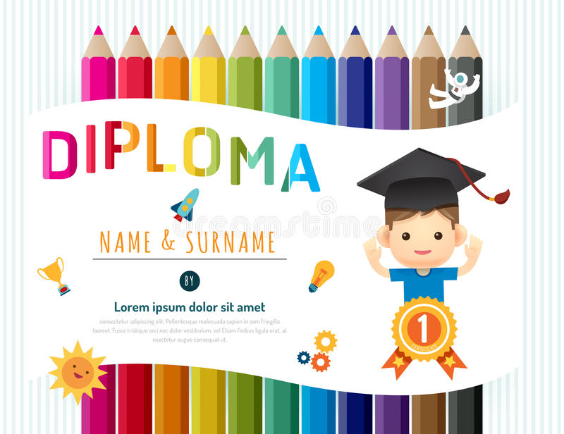 O certificado caçoa o diploma, disposição do molde do jardim de infância ilustração do vetor