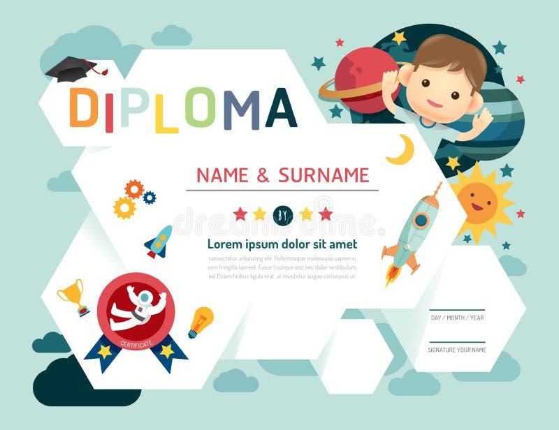O certificado caçoa o diploma, molde do jardim de infância ilustração royalty free