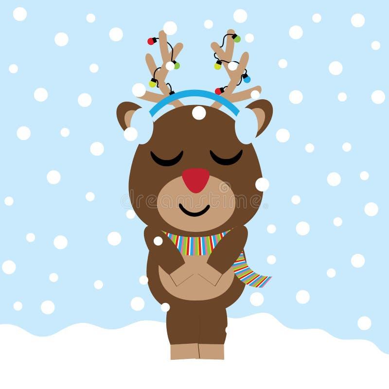 O cervo bonito é desenhos animados de escuta da música no fundo da neve, no cartão do Xmas, no cartão e no papel de parede ilustração royalty free