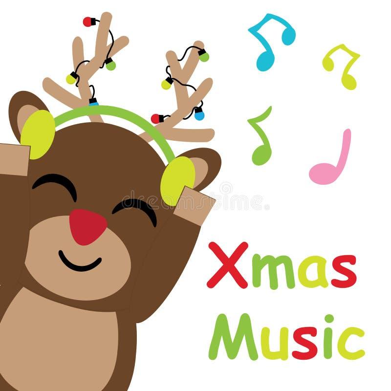 O cervo bonito é desenhos animados de escuta do vetor da música, cartão do Xmas, cartão e papel de parede ilustração stock