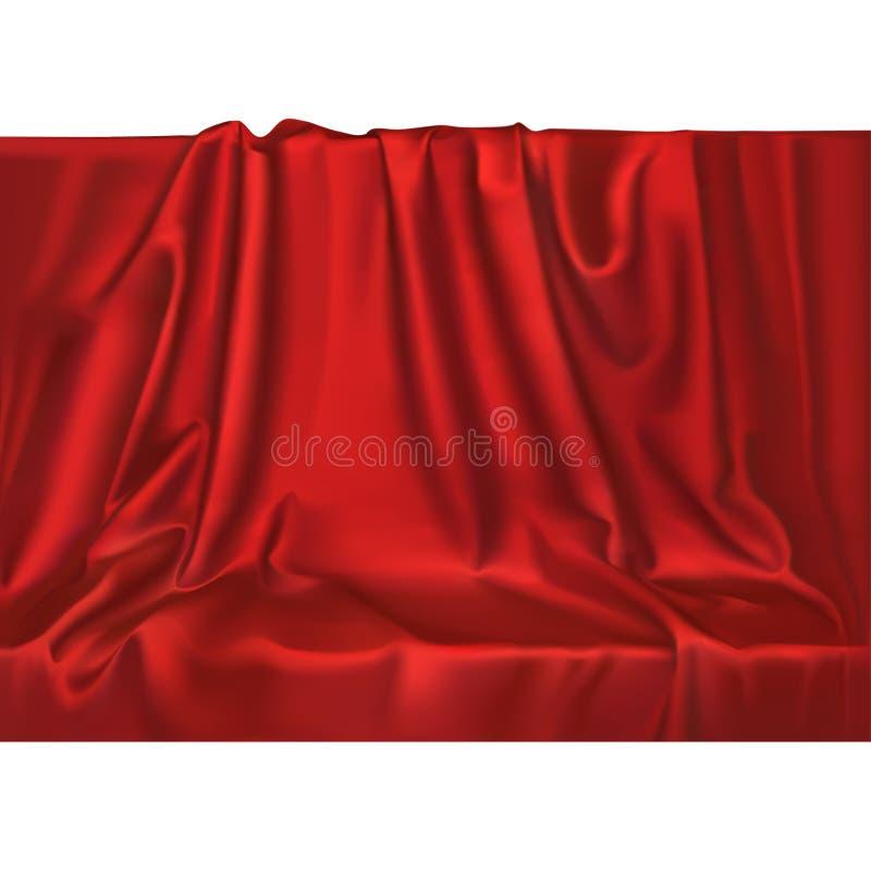 O cetim de seda vermelho realístico luxuoso do vetor drapeja o fundo de matéria têxtil Material liso brilhante da tela elegante ilustração do vetor