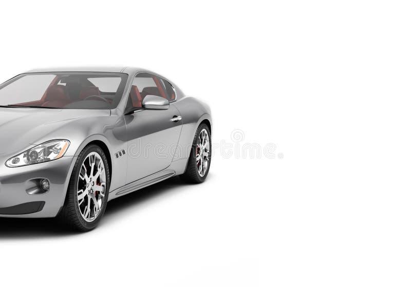 O CG 3d rende do carro desportivo luxuoso genérico isolado em um fundo branco Ilustração gráfica ilustração stock