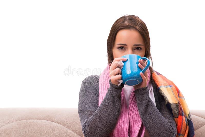 O chá bebendo da jovem mulher durante a febre fotos de stock