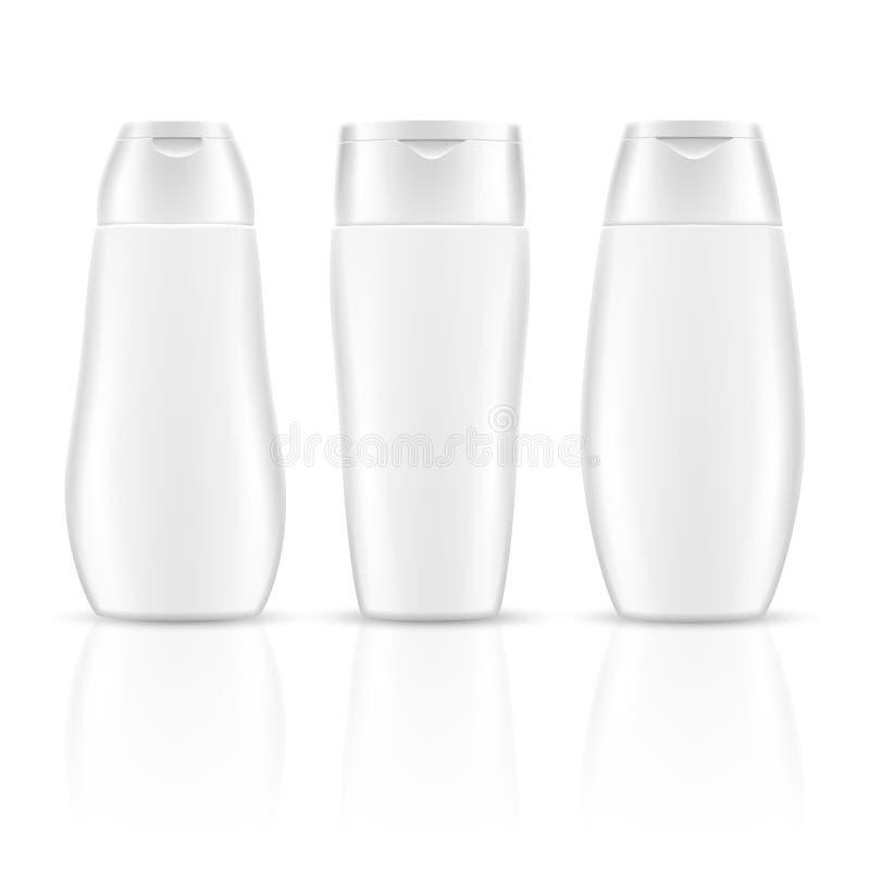 O champô vazio branco engarrafa modelos cosméticos do vetor dos pacotes do recipiente ilustração stock