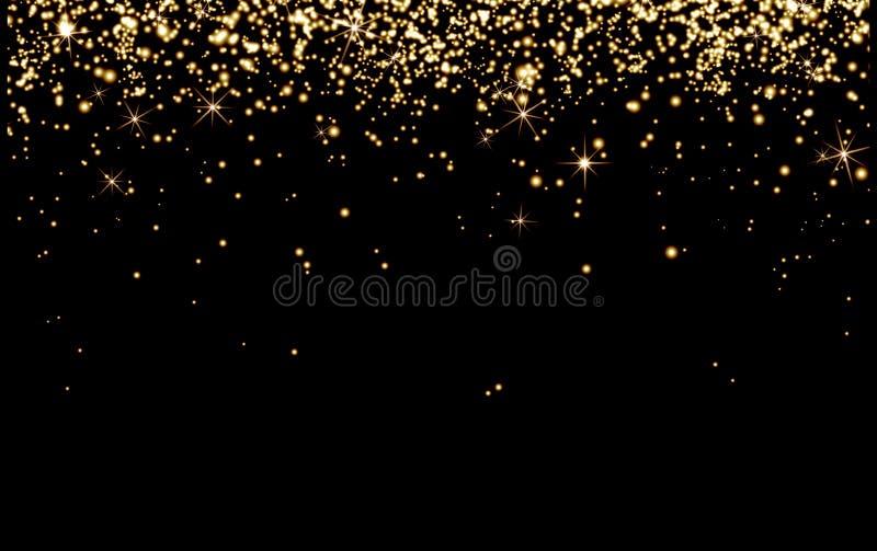 O champanhe do ouro da gota acende, partículas amarelas brilhantes brilha no bla fotos de stock royalty free