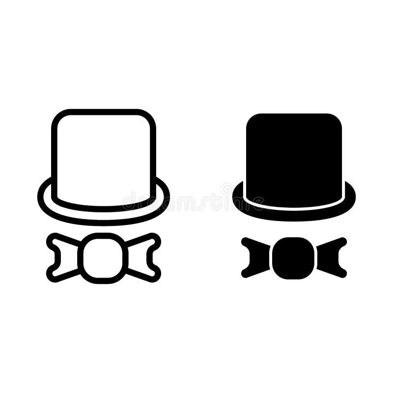 O chapéu alto e o laço curvam a linha e o ícone do glyph O cilindro e a curva vector a ilustração isolada no branco Estilo do esb ilustração royalty free