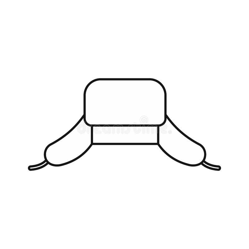 O chapéu com orelha bate o ícone, estilo do esboço ilustração stock