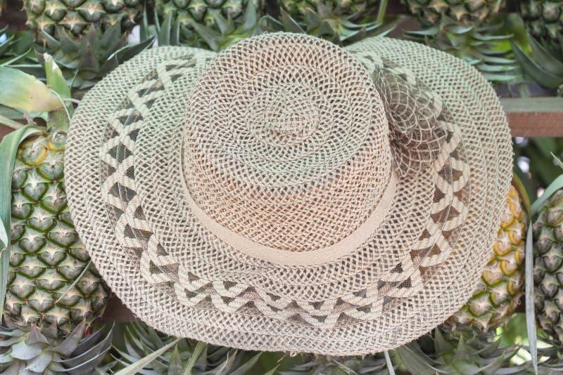 O chapéu do comerciante do abacaxi imagem de stock