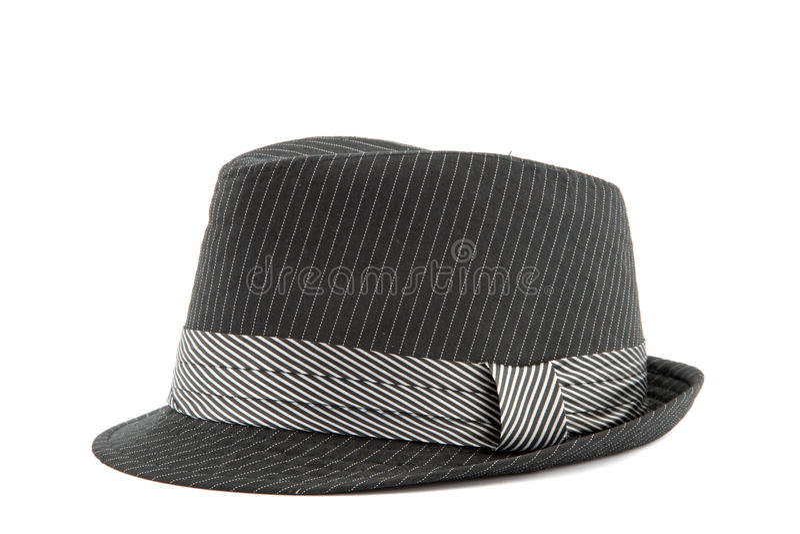 O chapéu dos homens negros isolado no branco foto de stock royalty free