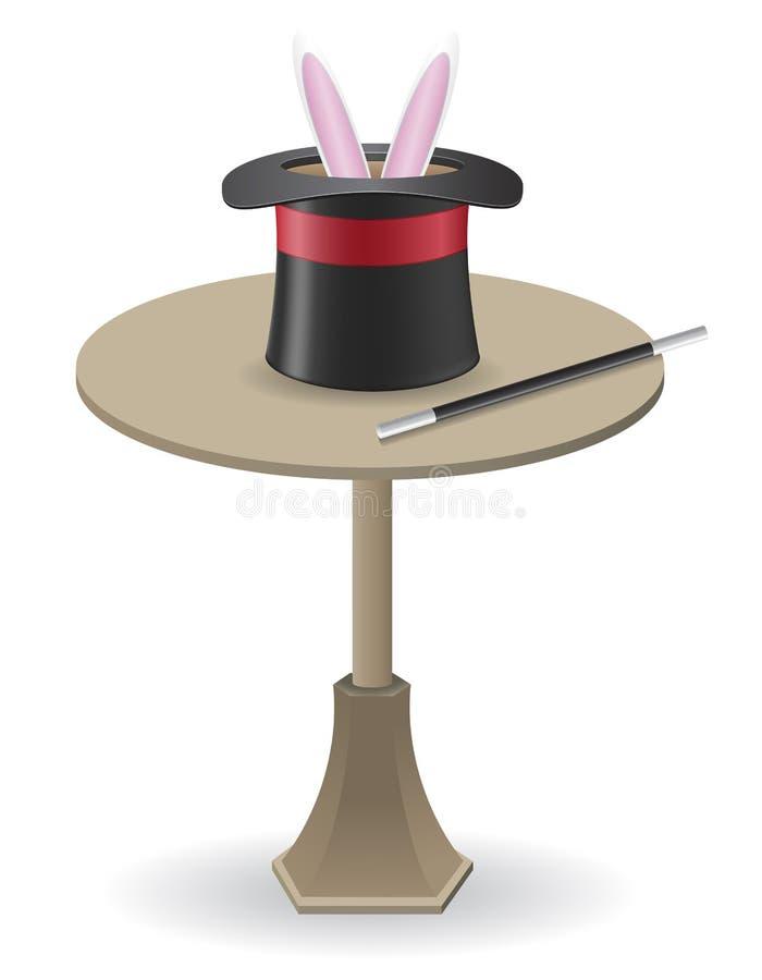 O chapéu mágico da varinha e do cilindro na tabela vector o IL ilustração royalty free