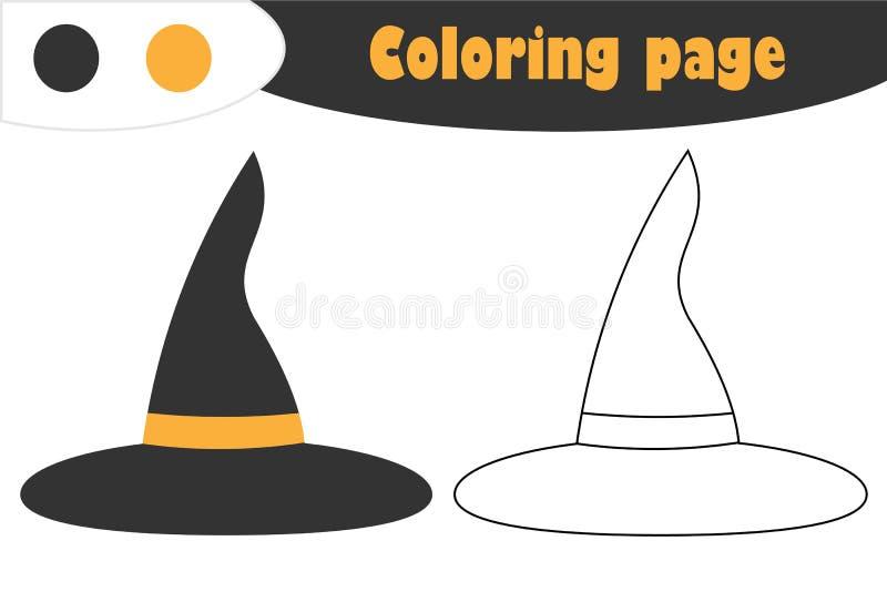 O chapéu no estilo dos desenhos animados, página da bruxa da coloração do Dia das Bruxas, jogo de papel da educação para o desenv ilustração stock