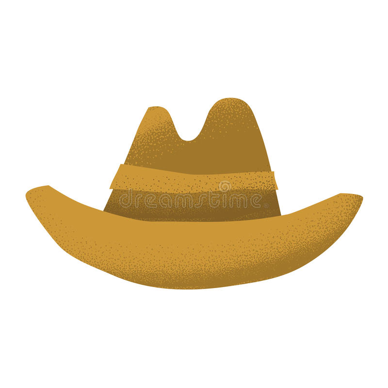 O chapéu ocidental americano do marrom do couro do vaqueiro do grunge do estilo dos desenhos animados isolou a ilustração do veto ilustração royalty free