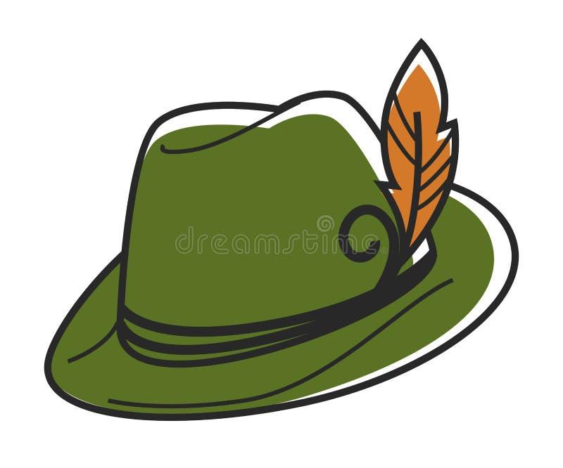 O chapéu verde com a pena amarela pequena isolou a ilustração ilustração stock