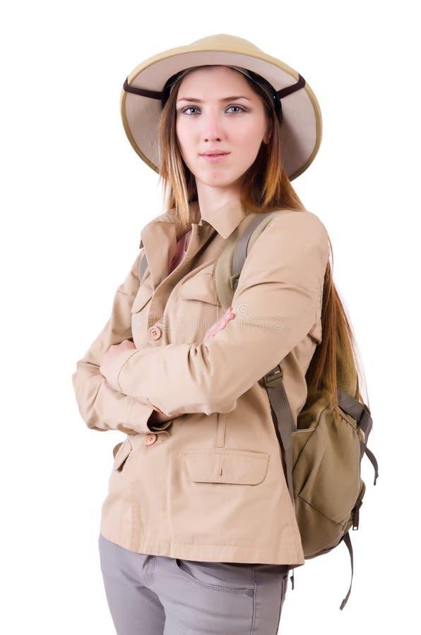 O chapéu vestindo do safari da mulher no branco fotografia de stock royalty free
