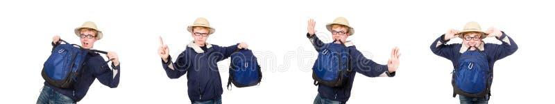 O chapéu vestindo do safari do estudante engraçado imagens de stock