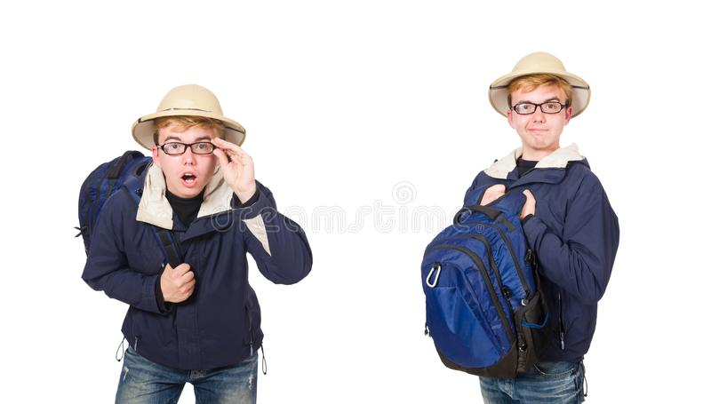 O chapéu vestindo do safari do estudante engraçado foto de stock royalty free