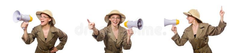 O chap?u vestindo do safari da mulher no branco imagem de stock
