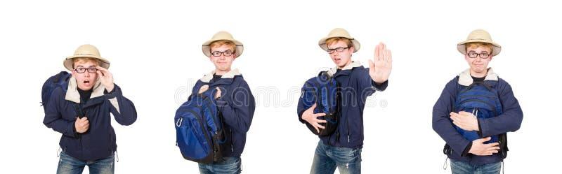 O chap?u vestindo do safari do estudante engra?ado imagens de stock royalty free