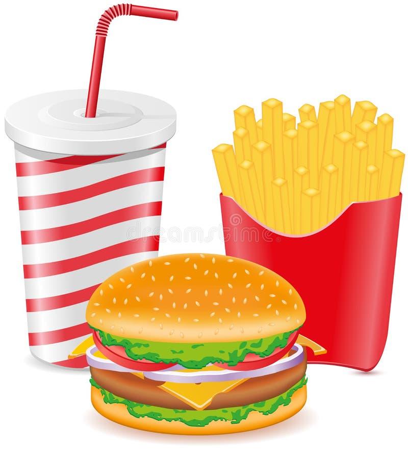 O cheeseburger frita a batata e o copo de papel com soda ilustração stock