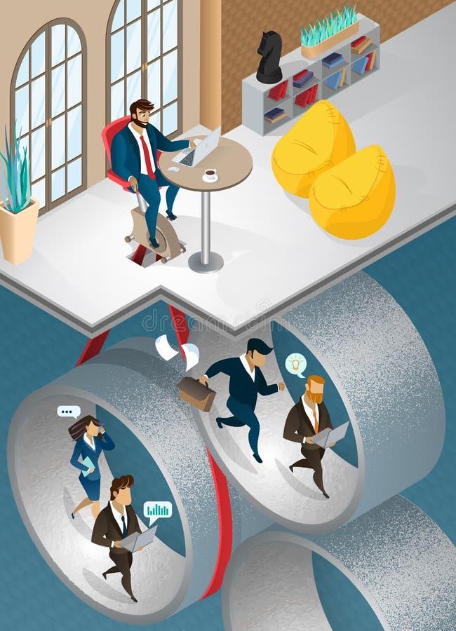 O chefe controla o processo de negócios da empresa ilustração do vetor