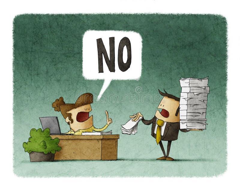 O chefe dá mais trabalho a um empregado e diz não ilustração stock
