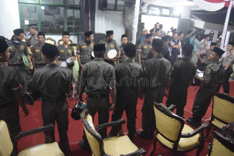 O chefe da polícia de Tito Karnavian visitou o Pondok Pesantren Raudlatut Thalibin Rembang fotografia de stock royalty free