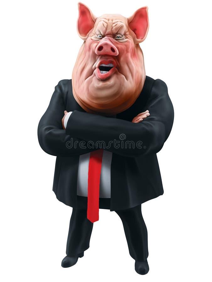 O chefe do porco fala com ilustração 3D cruzada os braços ilustração do vetor