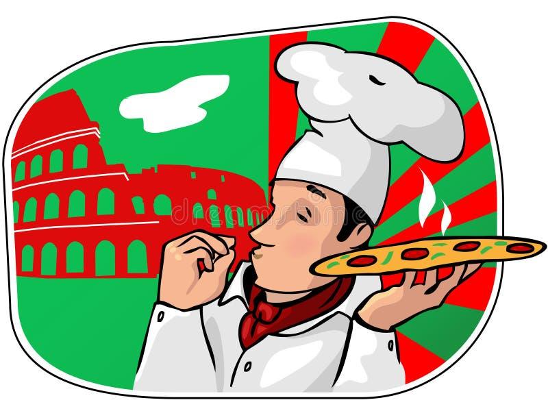 O chefe dos cozinheiros com uma pizza ilustração do vetor
