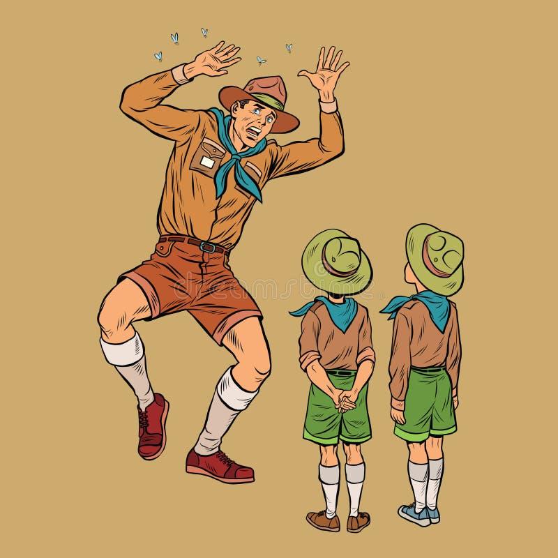 O chefe dos escoteiros está receoso dos insetos ilustração royalty free