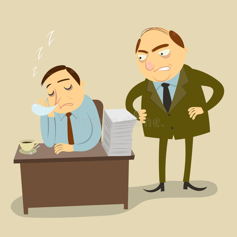 O chefe está irritado pelo tempo do trabalho do empregado ilustração stock