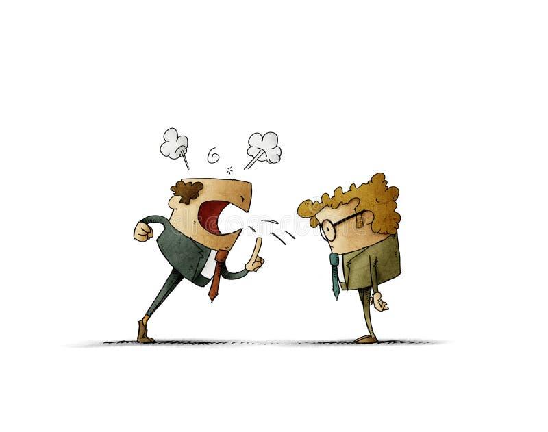 O chefe est? muito irritado e grita em seu empregado ilustração do vetor