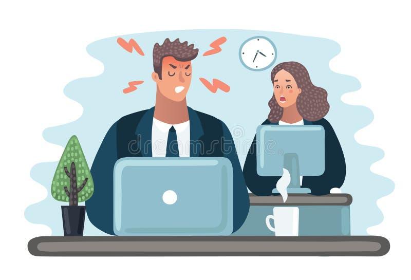O chefe irritado está discutindo o gerente o gerente está escondendo sob a tabela Vida do escritório Homem de negócios que grita  ilustração royalty free