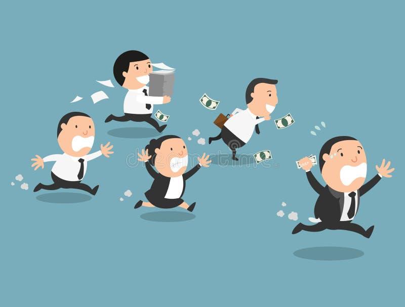O chefe que corre longe de seus empregados ilustração stock