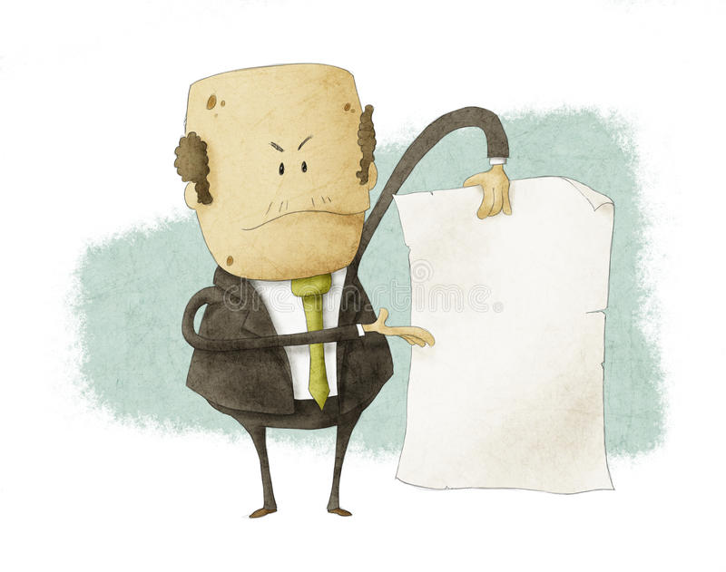 O chefe que guardara vazio escreve o papel ilustração do vetor