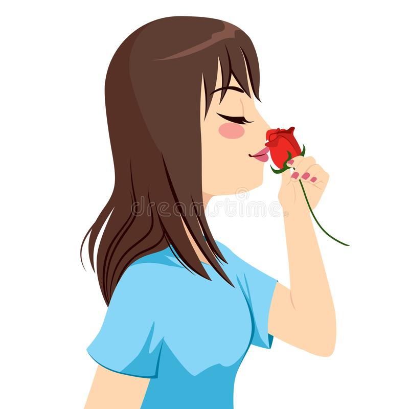 O cheiro da mulher aumentou ilustração stock