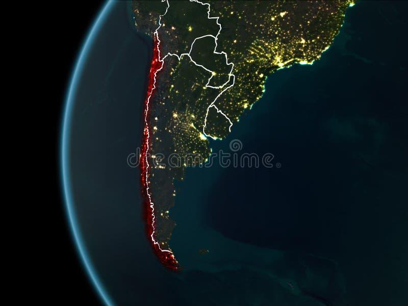 O Chile do espaço na noite imagem de stock royalty free