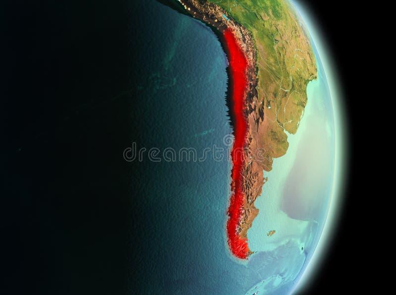 O Chile na manhã da órbita fotografia de stock royalty free