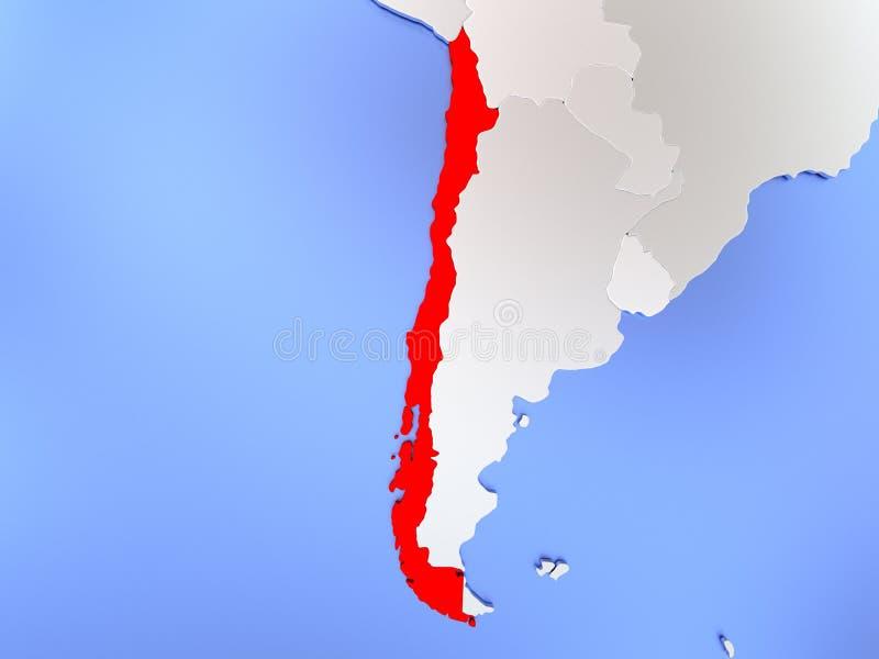 O Chile no vermelho no mapa ilustração royalty free